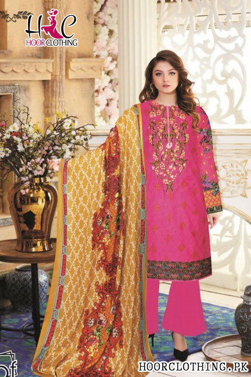 Winter Collection Pink & Beige Color Linen Suit With Khaddar Dopatta
