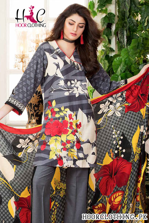 Winter Collection Women Khaddar Suit Grey Color With Khaddar Dopatta