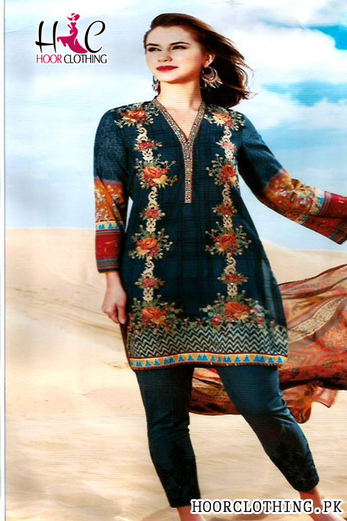 Women 3 Piece Charcoal Color Lawn Suite With Beautiful Galla Embroidery