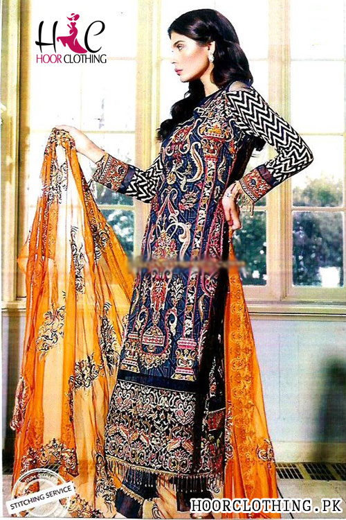Women 3 Piece Lawn Suite With Brosha Dopatta In Royal Blue & Red Galla Embroidery