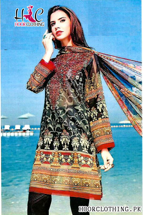 Women Black Color Lawn Summer Suite With Chiffon Dopatta