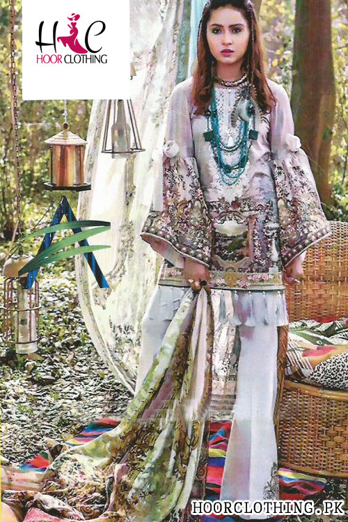 Women Lawn Purple Color 3 piece summer Suite With Chiffon Dopatta