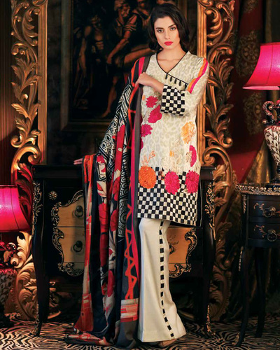 Women Linen Suit Hazel Color Designer Replica With Printed Chiffon Dopatta