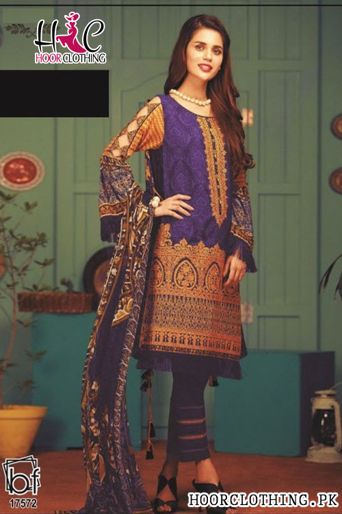 Women Linen Suit With Khaddar Dopatta In Royal Blue Color Winter Collection