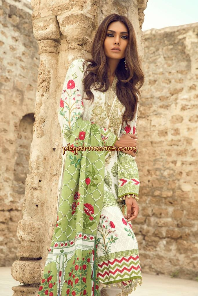 Women White Color Linen Suit With Printed Brosha Net Dopatta