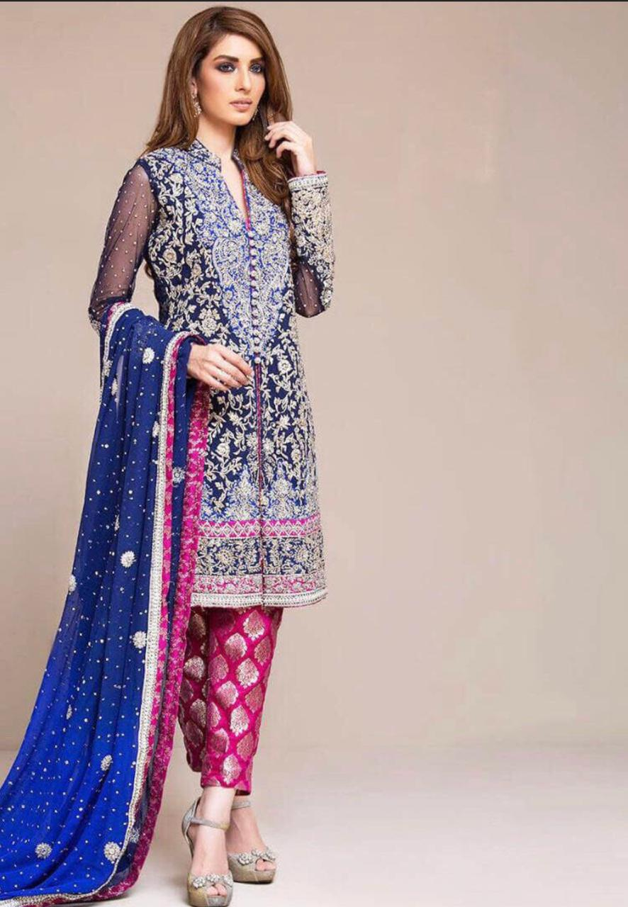 zainab chottani 3Pc Replica Lawn Summer Dress with Bamber Chiffon embroidered dupatta
