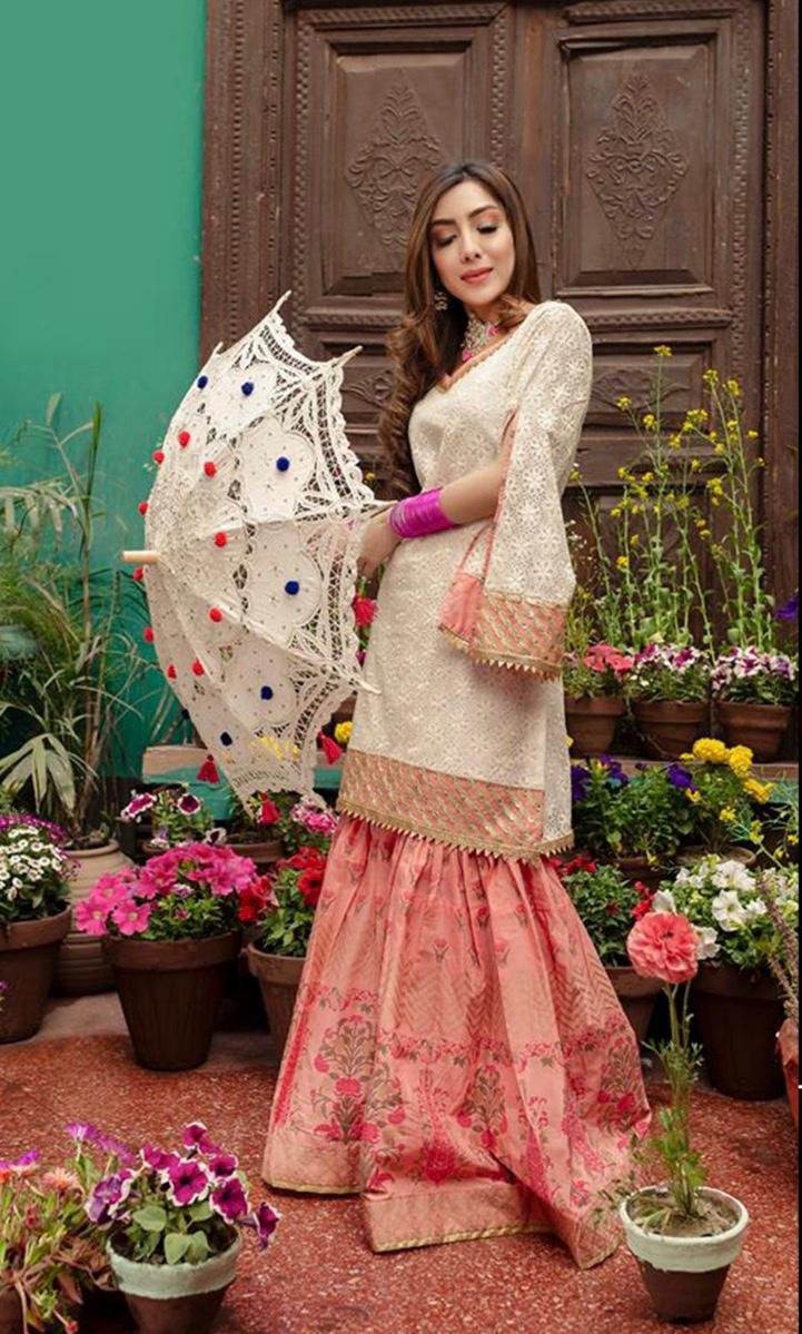 Zara Ahmed Brand Replica 3pc lawn collection Summer Dress with bamber Chiffon embroidered dupatta
