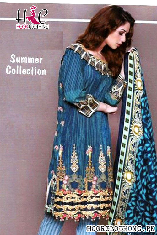 Zinc Color Women Summer Collection Lawn Suit With Chiffon Dopatta